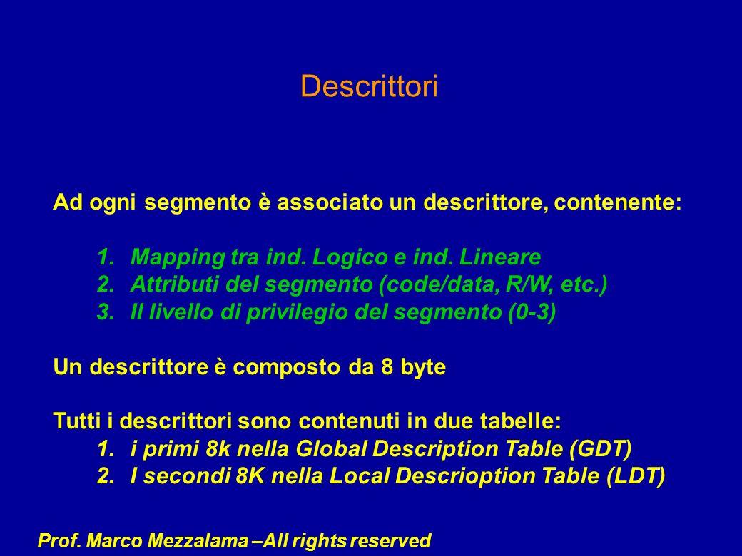 Prof. Marco Mezzalama –All rights reserved Descrittori Ad ogni segmento è associato un descrittore, contenente: 1.Mapping tra ind. Logico e ind. Linea