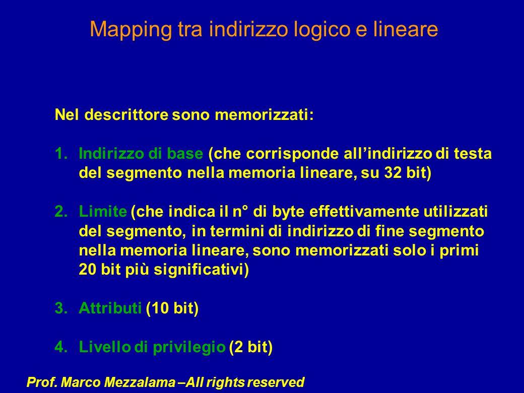 Prof. Marco Mezzalama –All rights reserved Mapping tra indirizzo logico e lineare Nel descrittore sono memorizzati: 1.Indirizzo di base (che corrispon