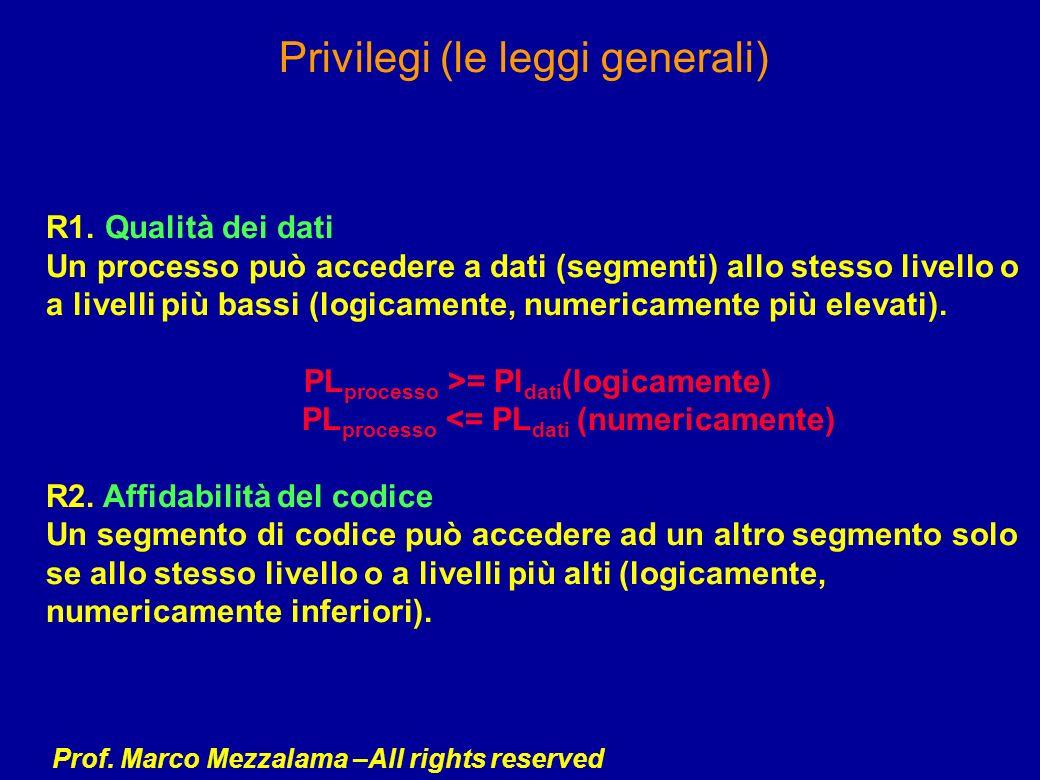 Prof. Marco Mezzalama –All rights reserved Privilegi (le leggi generali) R1. Qualità dei dati Un processo può accedere a dati (segmenti) allo stesso l