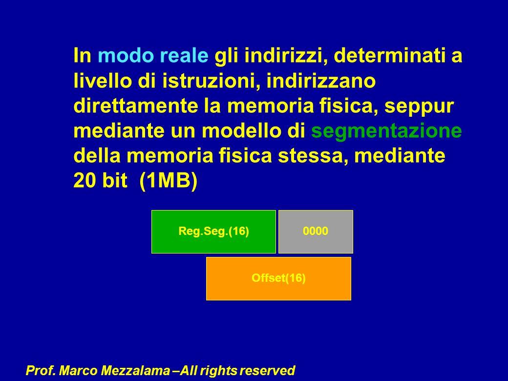 Prof. Marco Mezzalama –All rights reserved In modo reale gli indirizzi, determinati a livello di istruzioni, indirizzano direttamente la memoria fisic