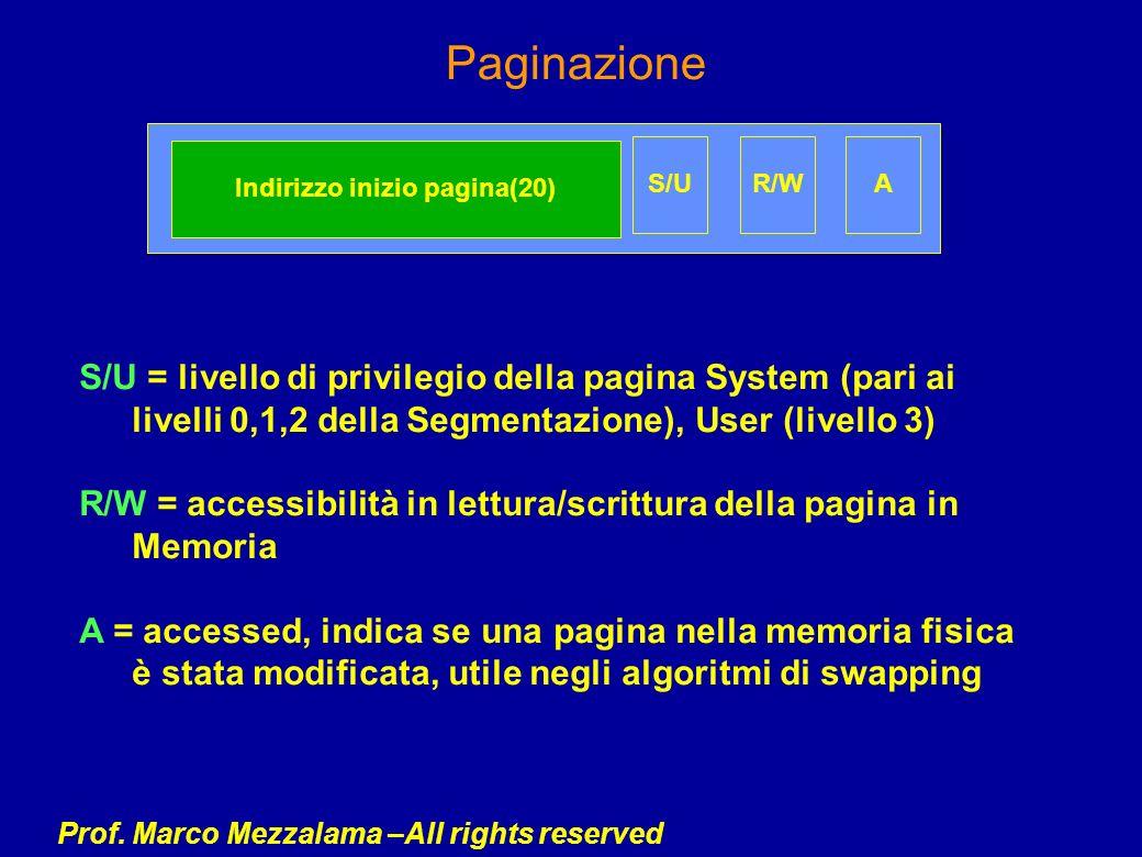 Prof. Marco Mezzalama –All rights reserved Paginazione S/U = livello di privilegio della pagina System (pari ai livelli 0,1,2 della Segmentazione), Us