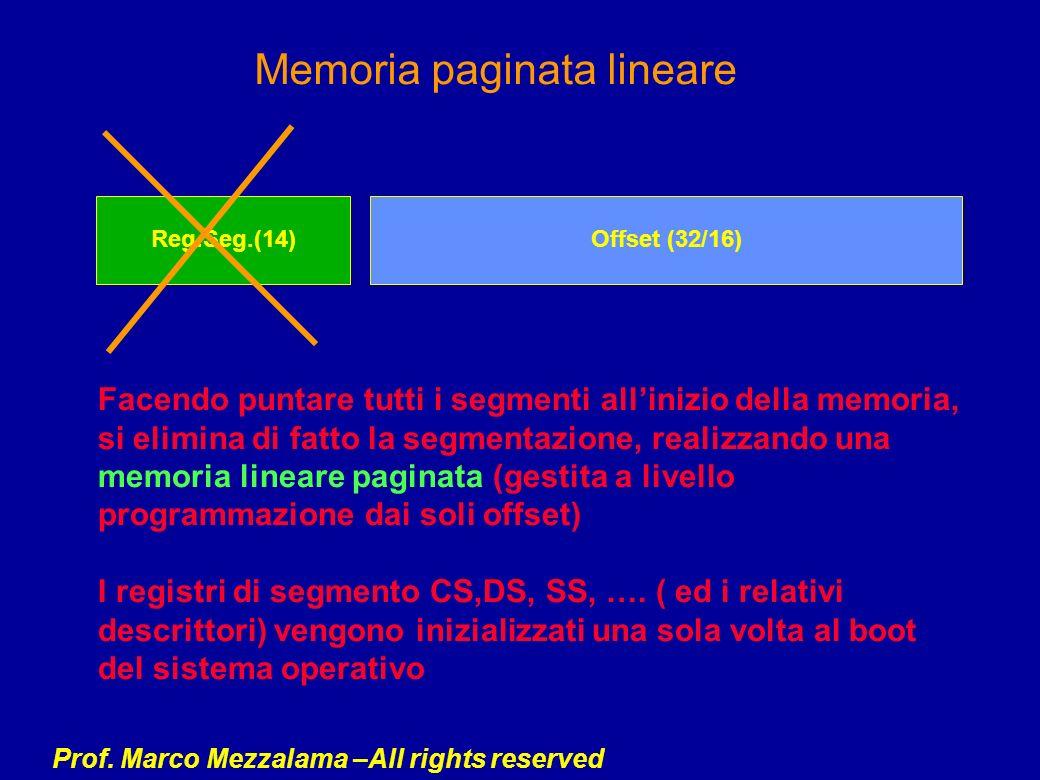 Prof. Marco Mezzalama –All rights reserved Memoria paginata lineare Facendo puntare tutti i segmenti allinizio della memoria, si elimina di fatto la s