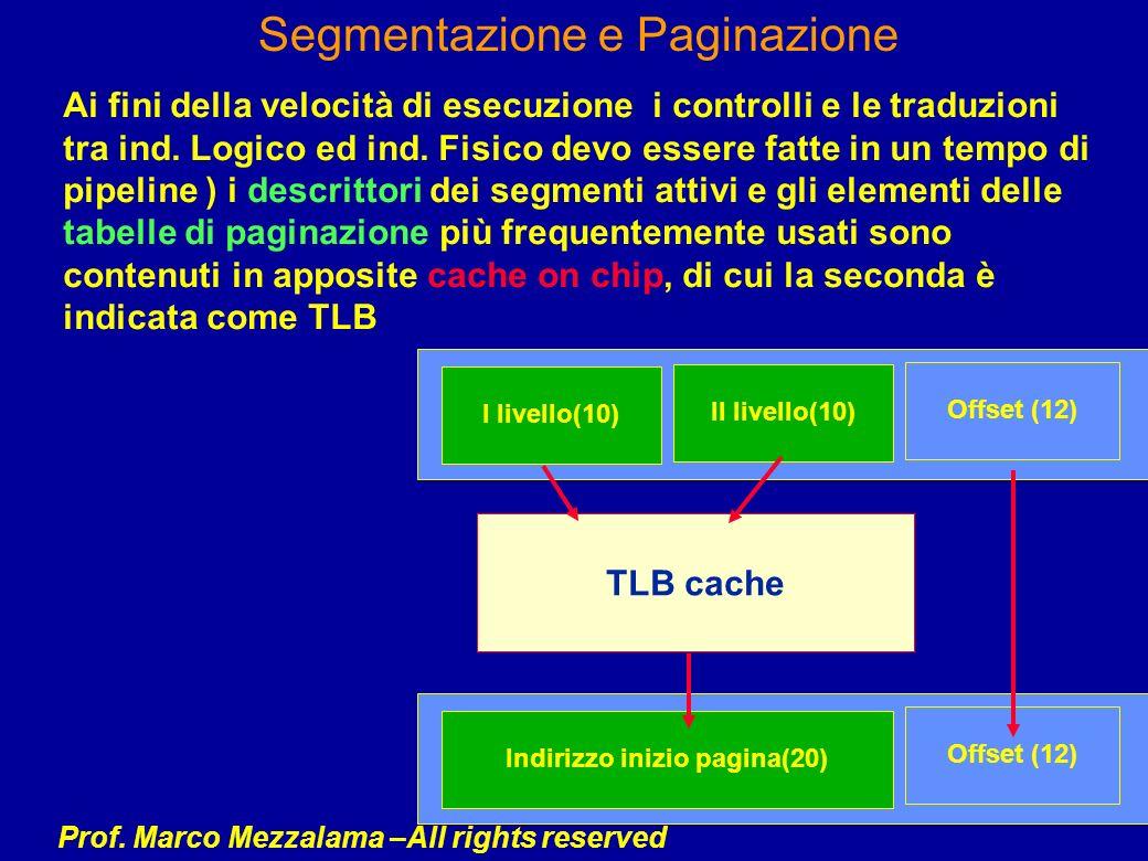 Prof. Marco Mezzalama –All rights reserved Segmentazione e Paginazione Ai fini della velocità di esecuzione i controlli e le traduzioni tra ind. Logic