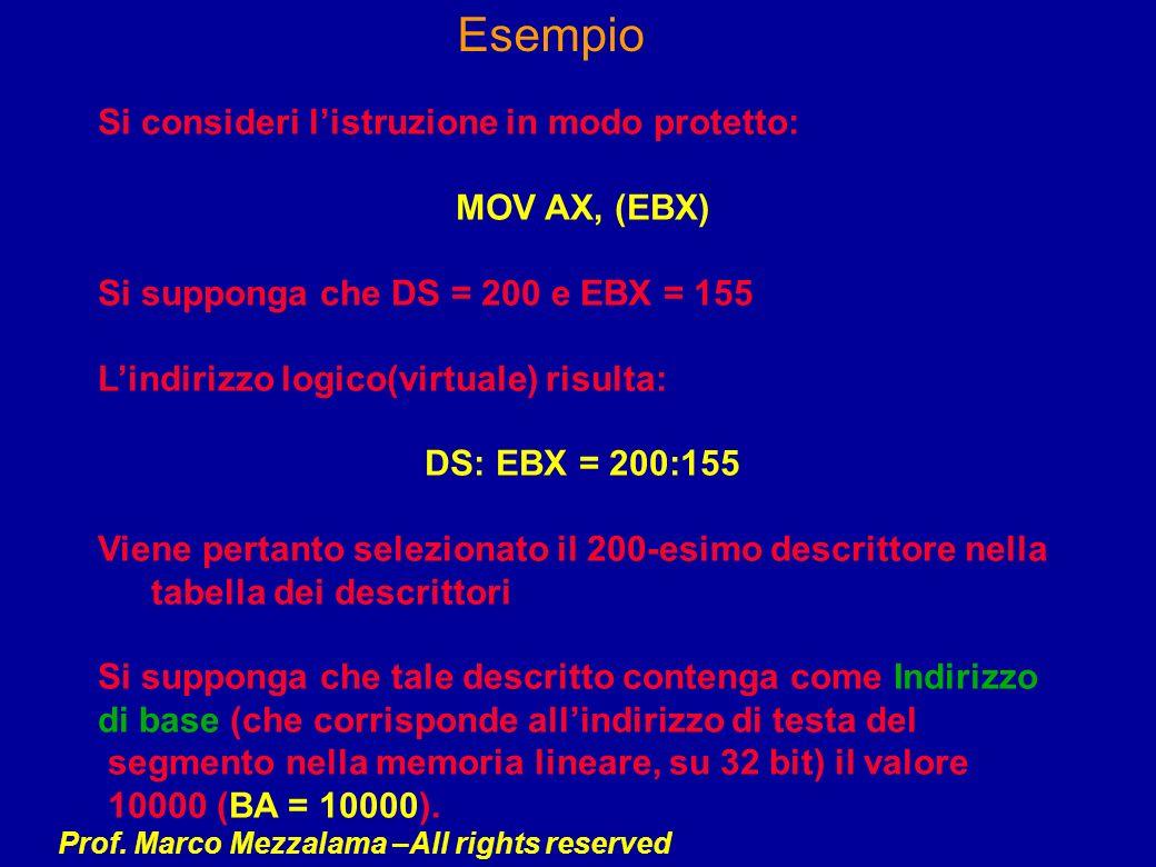 Prof. Marco Mezzalama –All rights reserved Esempio Si consideri listruzione in modo protetto: MOV AX, (EBX) Si supponga che DS = 200 e EBX = 155 Lindi