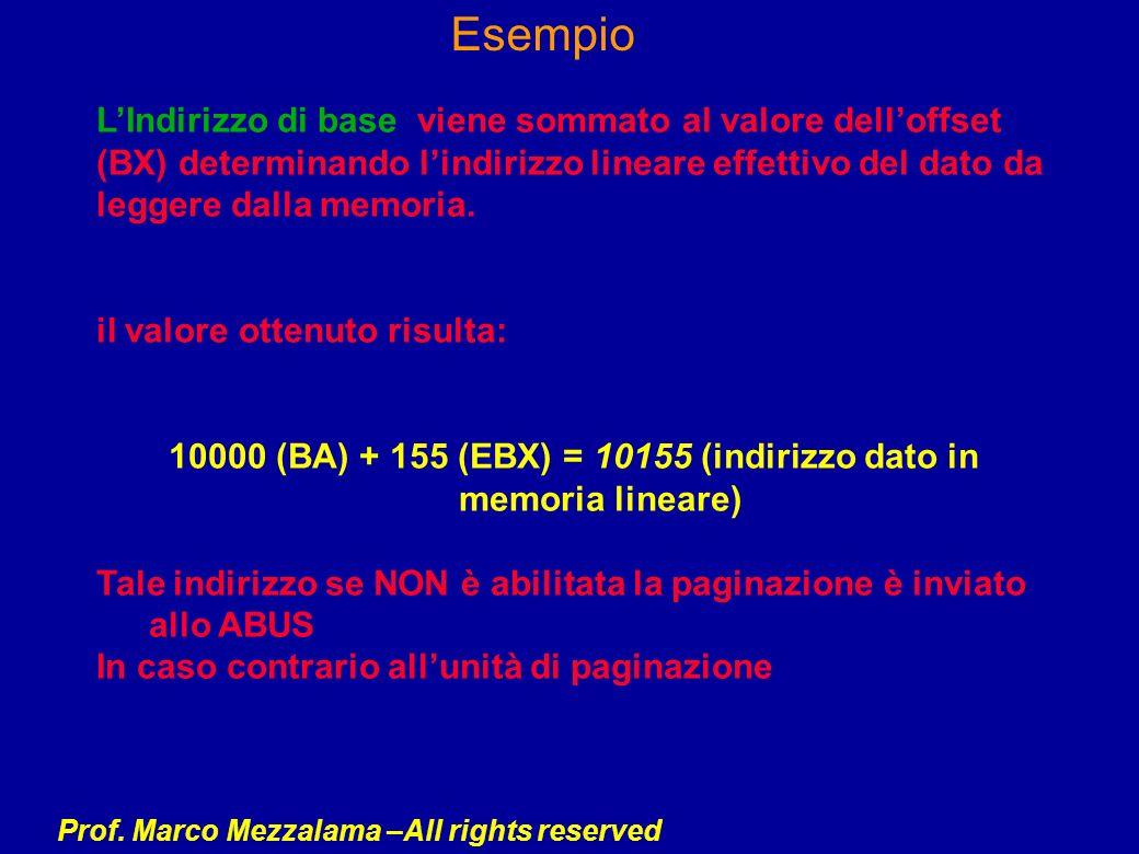 Prof. Marco Mezzalama –All rights reserved Esempio LIndirizzo di base viene sommato al valore delloffset (BX) determinando lindirizzo lineare effettiv