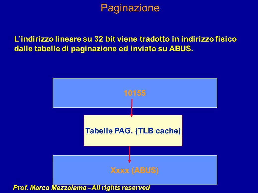 Prof. Marco Mezzalama –All rights reserved Paginazione Lindirizzo lineare su 32 bit viene tradotto in indirizzo fisico dalle tabelle di paginazione ed