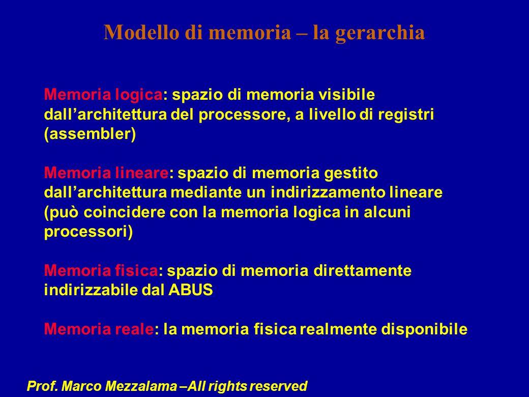 Prof. Marco Mezzalama –All rights reserved Modello di memoria – la gerarchia Memoria logica: spazio di memoria visibile dallarchitettura del processor
