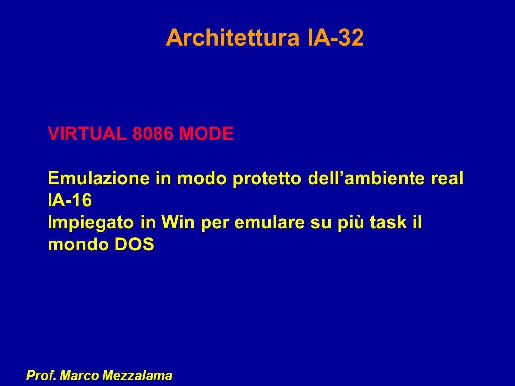 Prof. Marco Mezzalama Architettura IA-32 VIRTUAL 8086 MODE Emulazione in modo protetto dellambiente real IA-16 Impiegato in Win per emulare su più tas