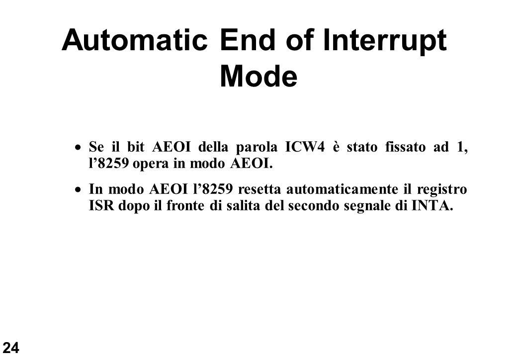 24 Automatic End of Interrupt Mode Se il bit AEOI della parola ICW4 è stato fissato ad 1, l8259 opera in modo AEOI. In modo AEOI l8259 resetta automat