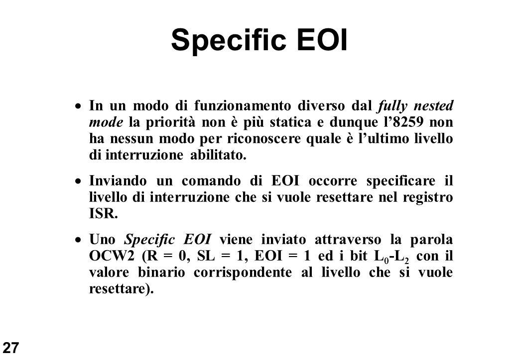 27 Specific EOI In un modo di funzionamento diverso dal fully nested mode la priorità non è più statica e dunque l8259 non ha nessun modo per riconosc