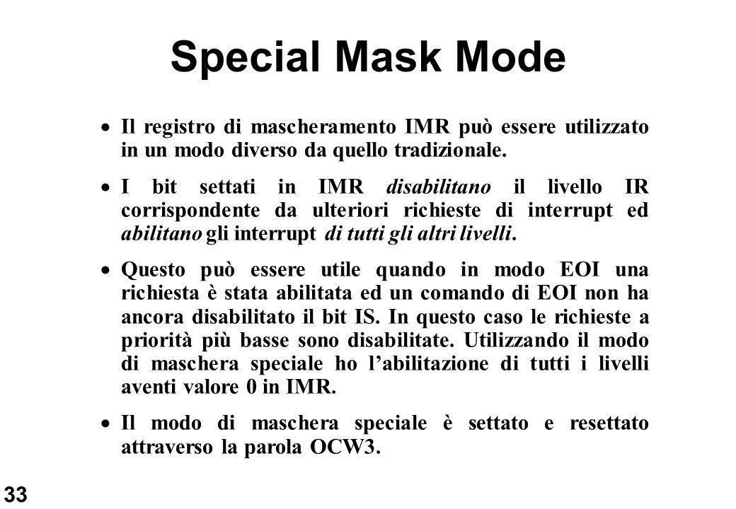 33 Special Mask Mode Il registro di mascheramento IMR può essere utilizzato in un modo diverso da quello tradizionale. I bit settati in IMR disabilita