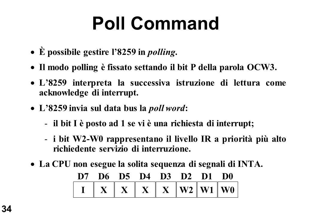 34 Poll Command È possibile gestire l8259 in polling. Il modo polling è fissato settando il bit P della parola OCW3. L8259 interpreta la successiva is