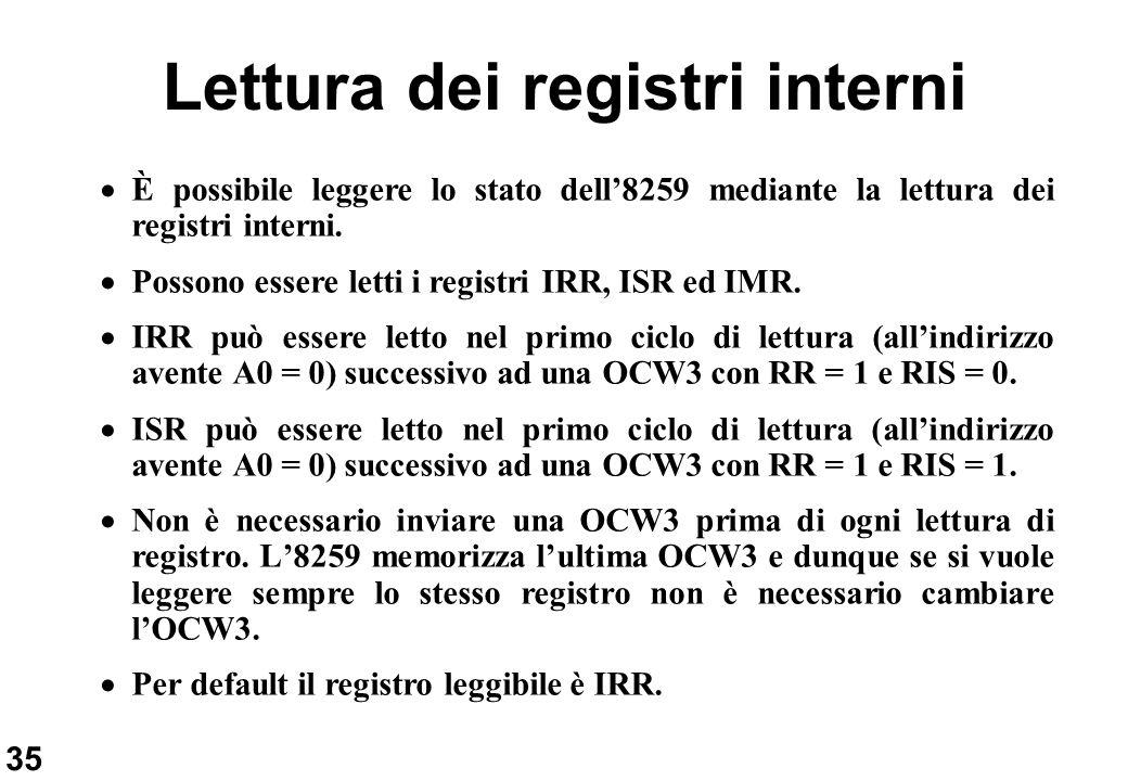 35 Lettura dei registri interni È possibile leggere lo stato dell8259 mediante la lettura dei registri interni. Possono essere letti i registri IRR, I