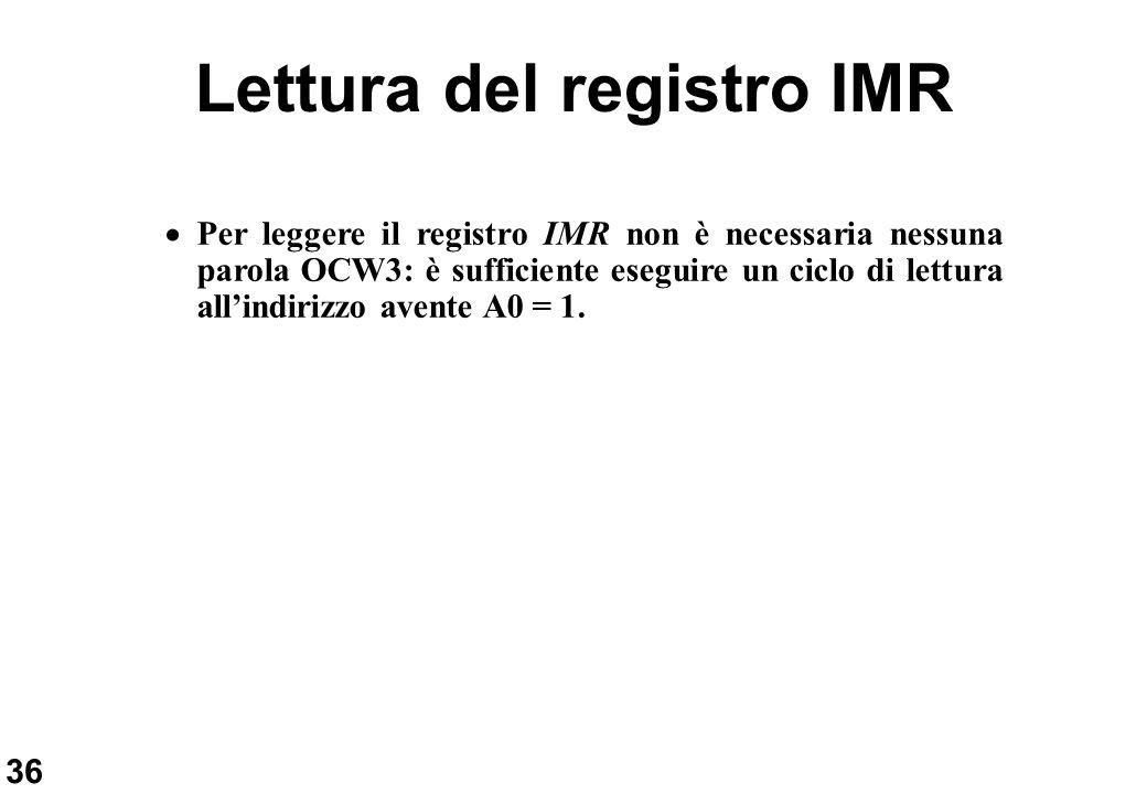 36 Lettura del registro IMR Per leggere il registro IMR non è necessaria nessuna parola OCW3: è sufficiente eseguire un ciclo di lettura allindirizzo