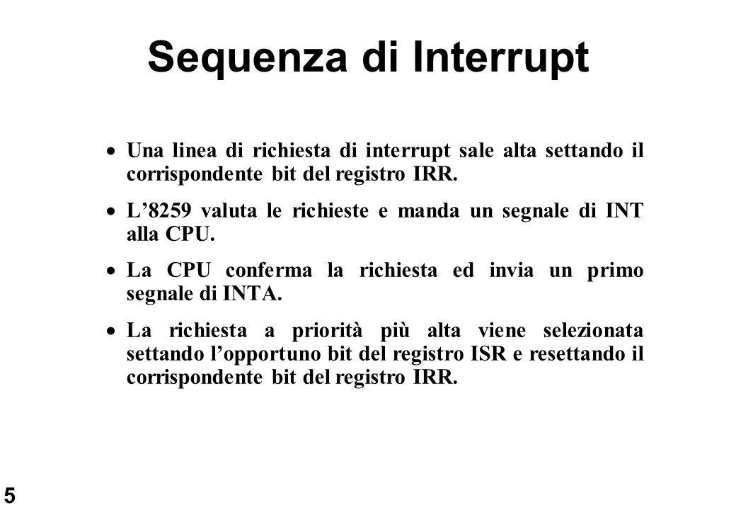 6 Sequenza di Interrupt (segue) La CPU invia un secondo impulso di INTA L8259 invia sul data bus il codice (1 byte) del dispositivo che ha fatto richiesta di interruzione Il ciclo di interrupt è concluso resettando il bit ISR.