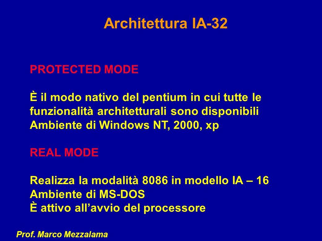 Prof. Marco Mezzalama Architettura IA-32 PROTECTED MODE È il modo nativo del pentium in cui tutte le funzionalità architetturali sono disponibili Ambi