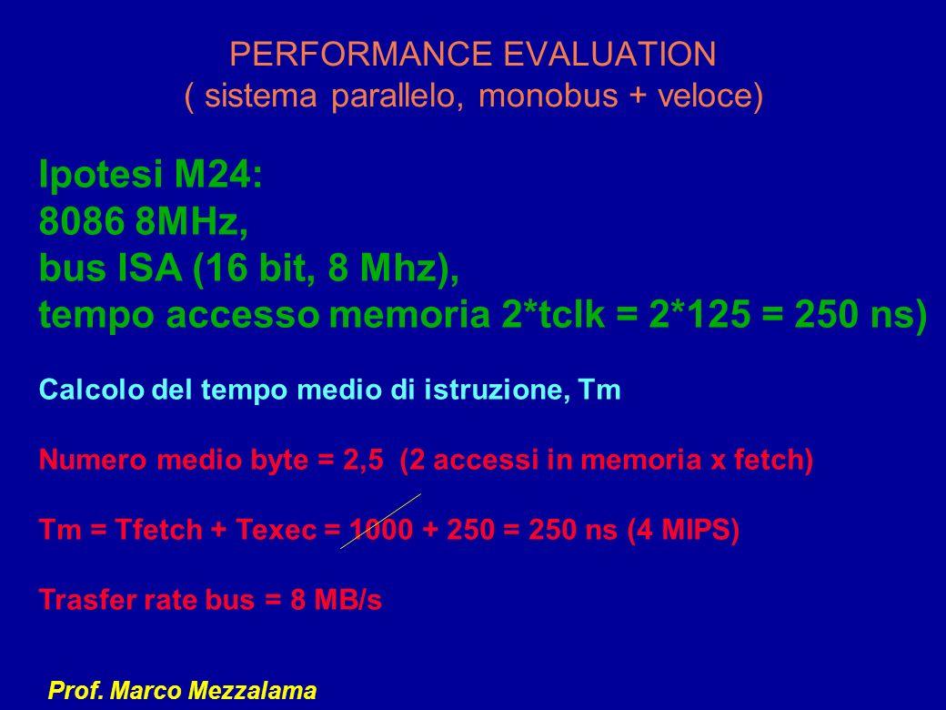 Prof. Marco Mezzalama PERFORMANCE EVALUATION ( sistema parallelo, monobus + veloce) Ipotesi M24: 8086 8MHz, bus ISA (16 bit, 8 Mhz), tempo accesso mem
