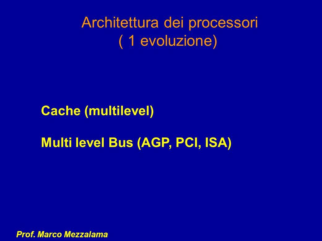 Prof. Marco Mezzalama Architettura dei processori ( 1 evoluzione) Cache (multilevel) Multi level Bus (AGP, PCI, ISA)