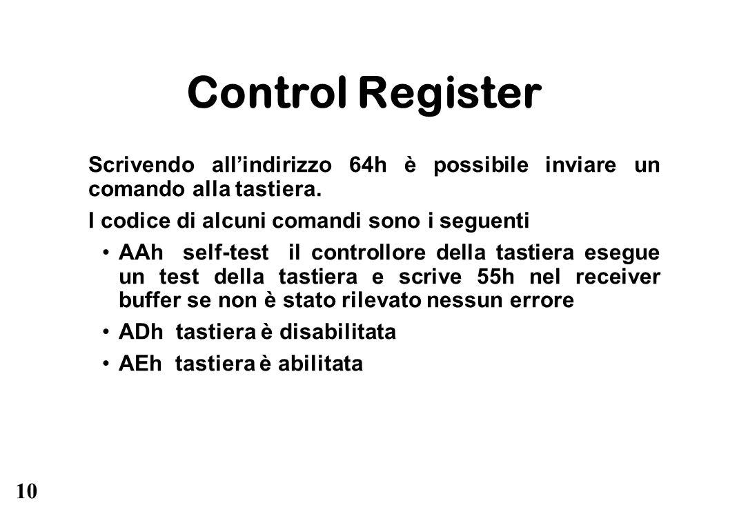 10 Control Register Scrivendo allindirizzo 64h è possibile inviare un comando alla tastiera. I codice di alcuni comandi sono i seguenti AAh self-test