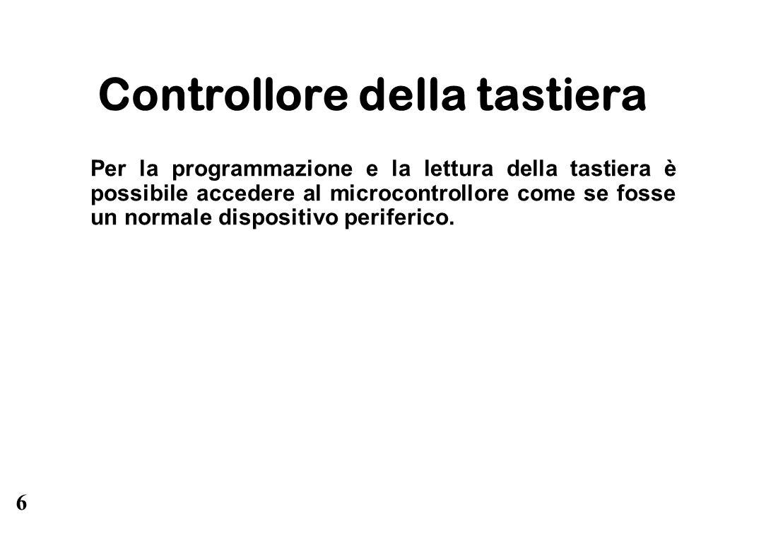 6 Controllore della tastiera Per la programmazione e la lettura della tastiera è possibile accedere al microcontrollore come se fosse un normale dispo