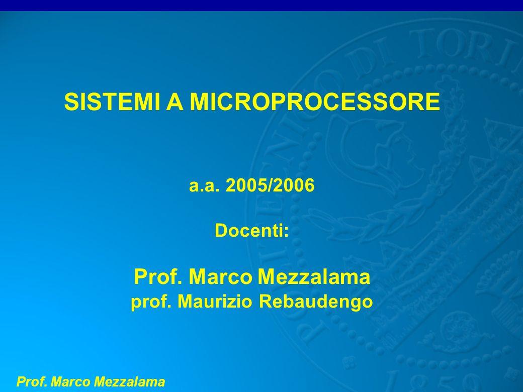 Prof. Marco Mezzalama SISTEMI A MICROPROCESSORE a.a. 2005/2006 Docenti: Prof. Marco Mezzalama prof. Maurizio Rebaudengo