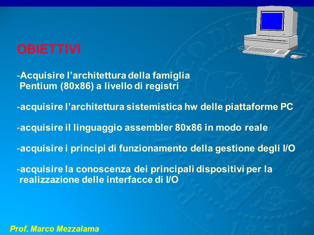 Prof. Marco Mezzalama OBIETTIVI -Acquisire larchitettura della famiglia Pentium (80x86) a livello di registri -acquisire larchitettura sistemistica hw