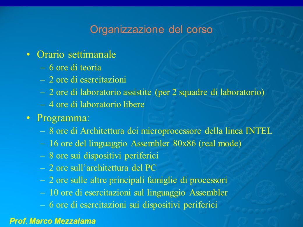Prof. Marco Mezzalama Organizzazione del corso Orario settimanale –6 ore di teoria –2 ore di esercitazioni –2 ore di laboratorio assistite (per 2 squa