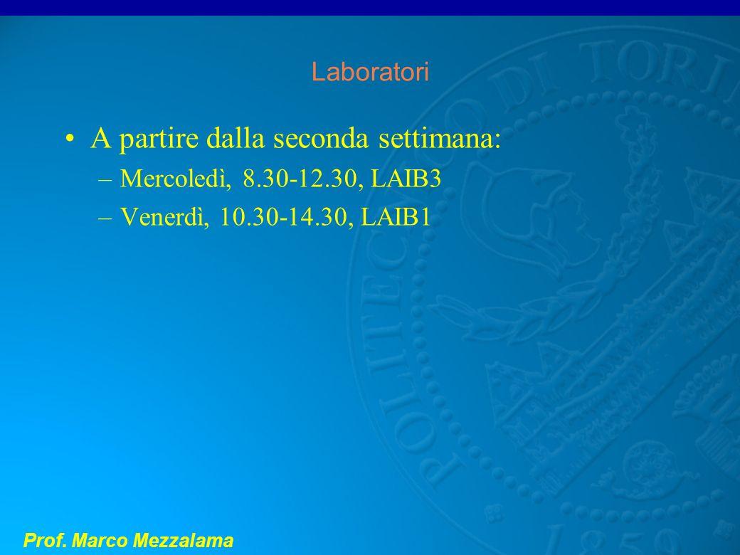 Prof. Marco Mezzalama Laboratori A partire dalla seconda settimana: –Mercoledì, 8.30-12.30, LAIB3 –Venerdì, 10.30-14.30, LAIB1