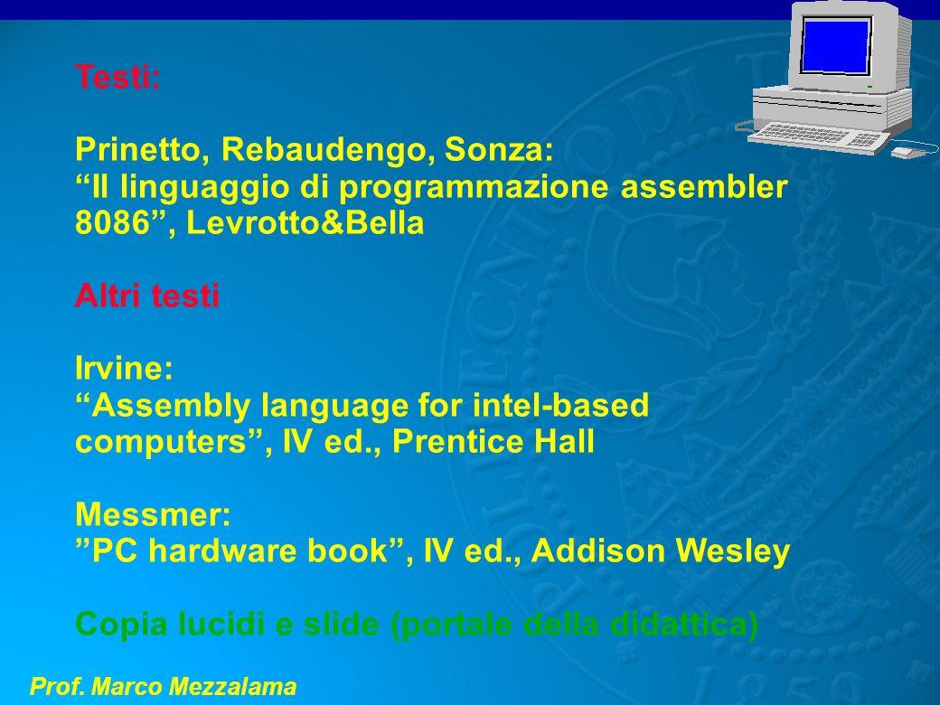 Prof. Marco Mezzalama Testi: Prinetto, Rebaudengo, Sonza: Il linguaggio di programmazione assembler 8086, Levrotto&Bella Altri testi Irvine: Assembly