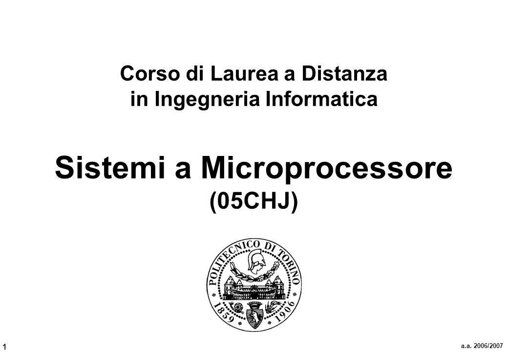 1 a.a. 2006/2007 Corso di Laurea a Distanza in Ingegneria Informatica Sistemi a Microprocessore (05CHJ)
