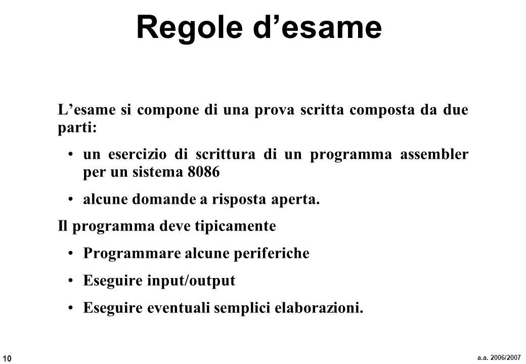 10 a.a. 2006/2007 Regole desame Lesame si compone di una prova scritta composta da due parti: un esercizio di scrittura di un programma assembler per