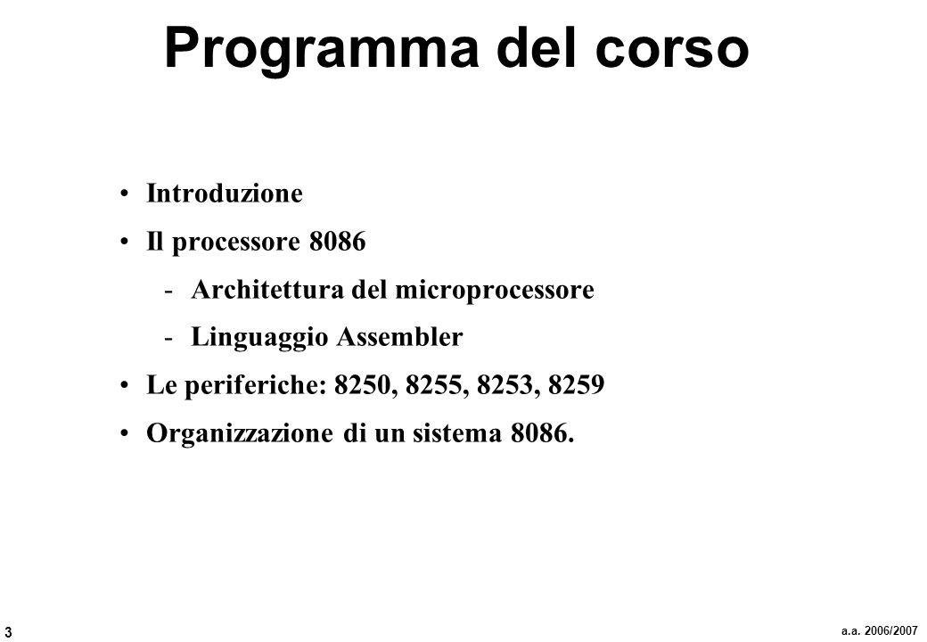 3 a.a. 2006/2007 Programma del corso Introduzione Il processore 8086 -Architettura del microprocessore -Linguaggio Assembler Le periferiche: 8250, 825