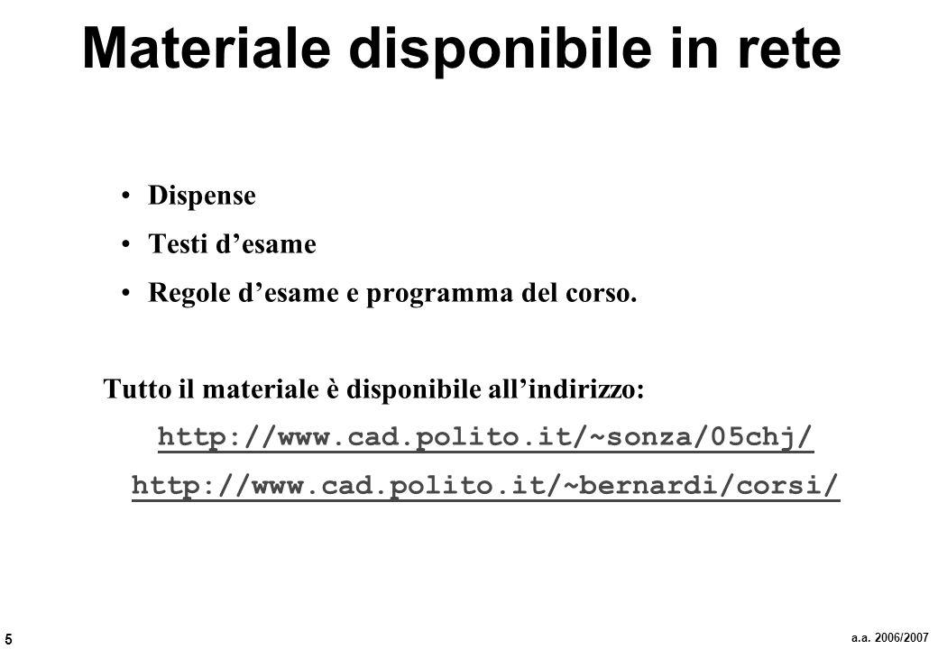 5 a.a. 2006/2007 Materiale disponibile in rete Dispense Testi desame Regole desame e programma del corso. Tutto il materiale è disponibile allindirizz