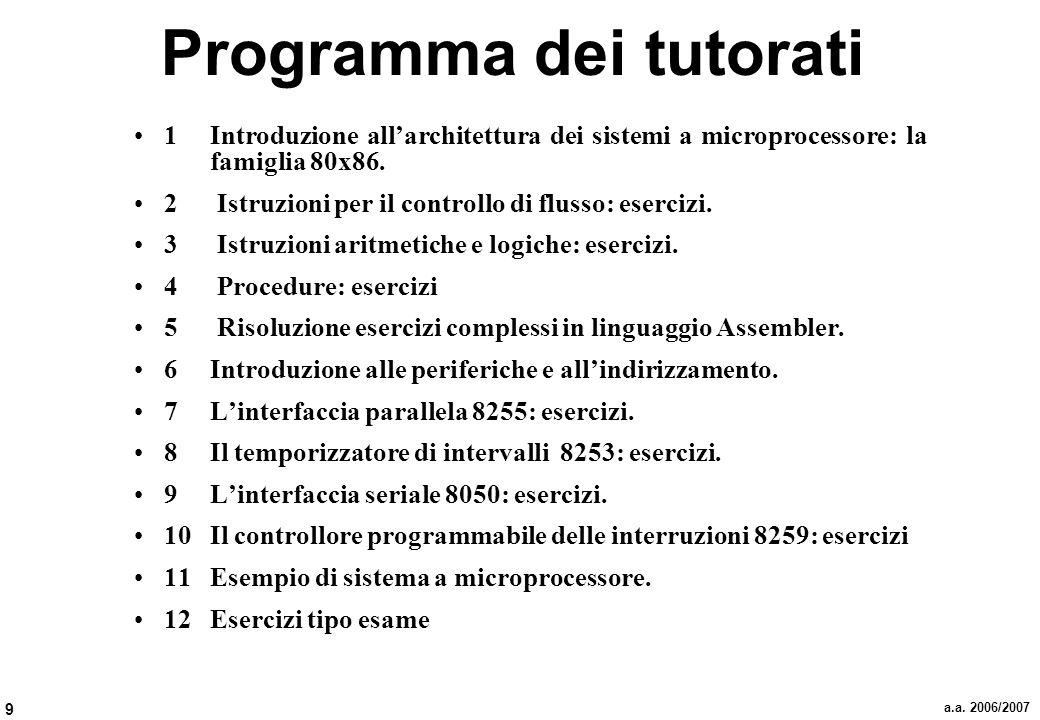 9 a.a. 2006/2007 Programma dei tutorati 1 Introduzione allarchitettura dei sistemi a microprocessore: la famiglia 80x86. 2 Istruzioni per il controllo