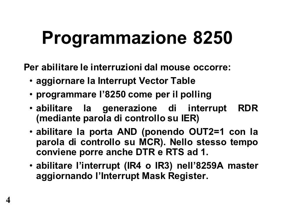 4 Programmazione 8250 Per abilitare le interruzioni dal mouse occorre: aggiornare la Interrupt Vector Table programmare l8250 come per il polling abilitare la generazione di interrupt RDR (mediante parola di controllo su IER) abilitare la porta AND (ponendo OUT2=1 con la parola di controllo su MCR).
