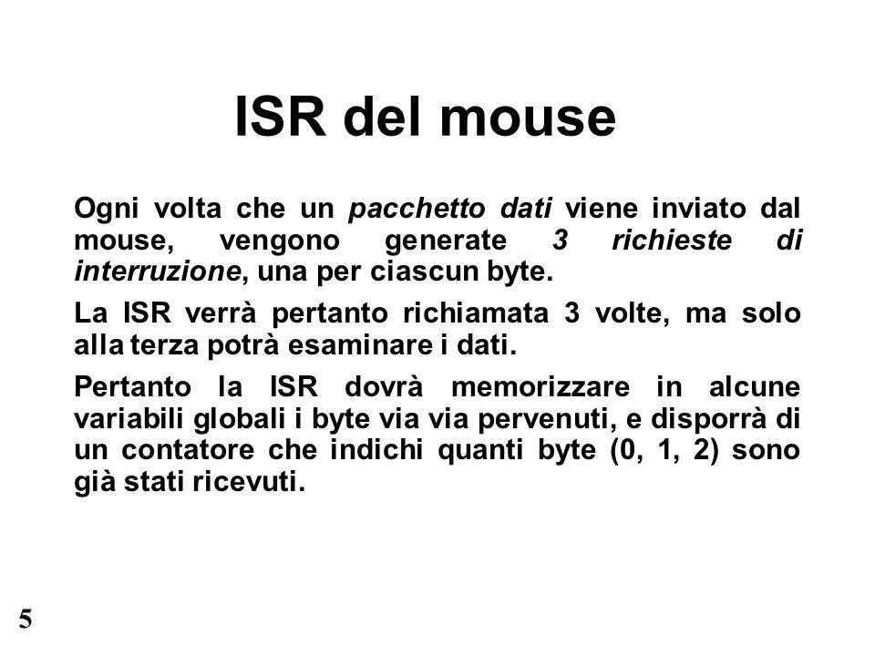 6 Esercizio Si ripeta lesercizio di programmazione del mouse, utilizzando questa volta la gestione mediante interrupt anziché la gestione mediante polling.