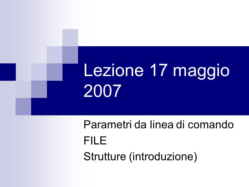Lezione 17 maggio 2007 Parametri da linea di comando FILE Strutture (introduzione)