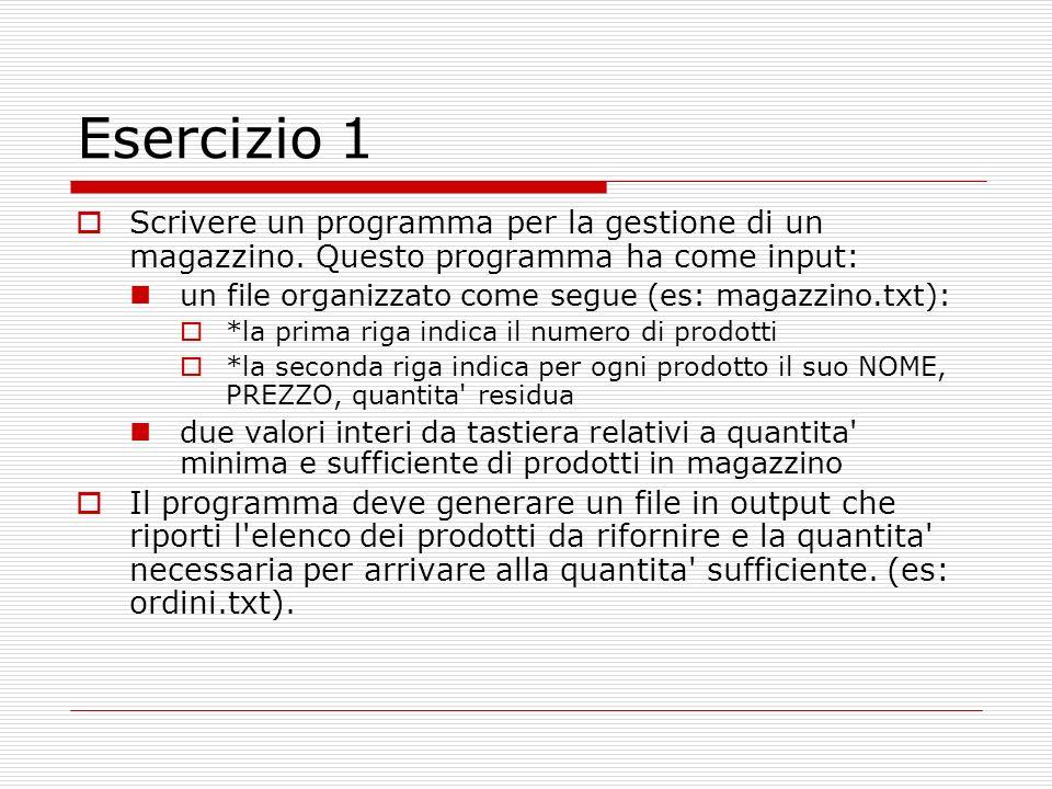 Esercizio 1 Scrivere un programma per la gestione di un magazzino. Questo programma ha come input: un file organizzato come segue (es: magazzino.txt):