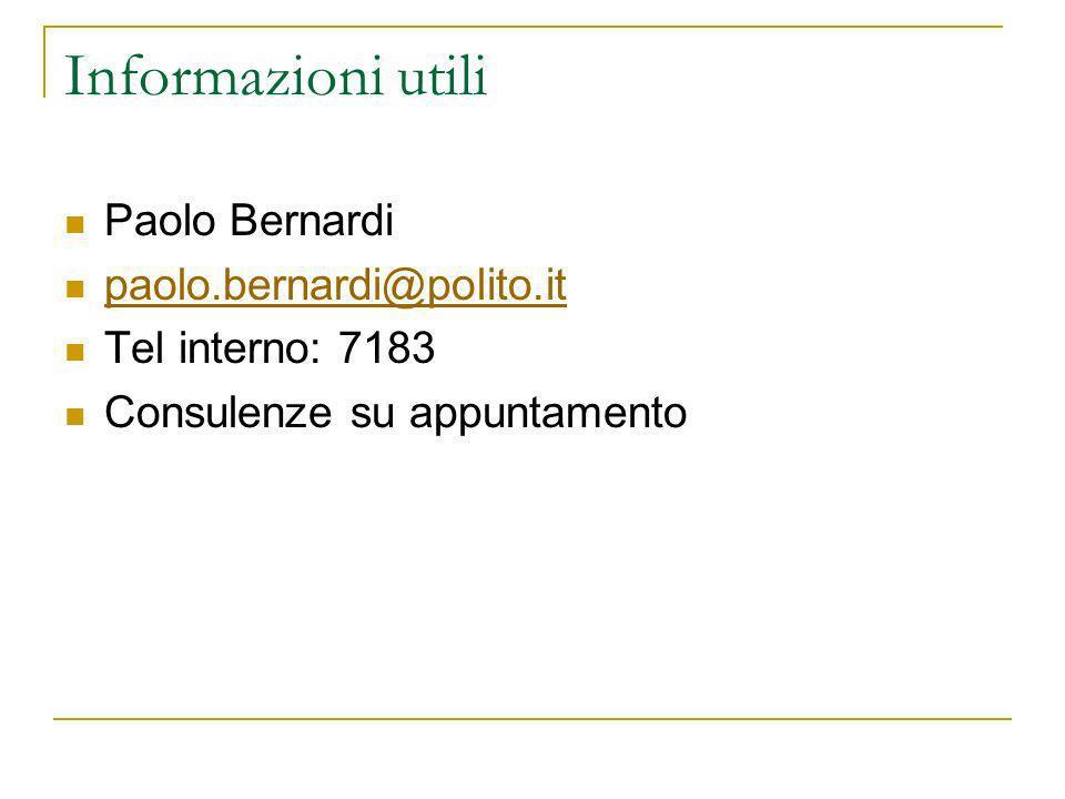 Informazioni utili Paolo Bernardi paolo.bernardi@polito.it Tel interno: 7183 Consulenze su appuntamento
