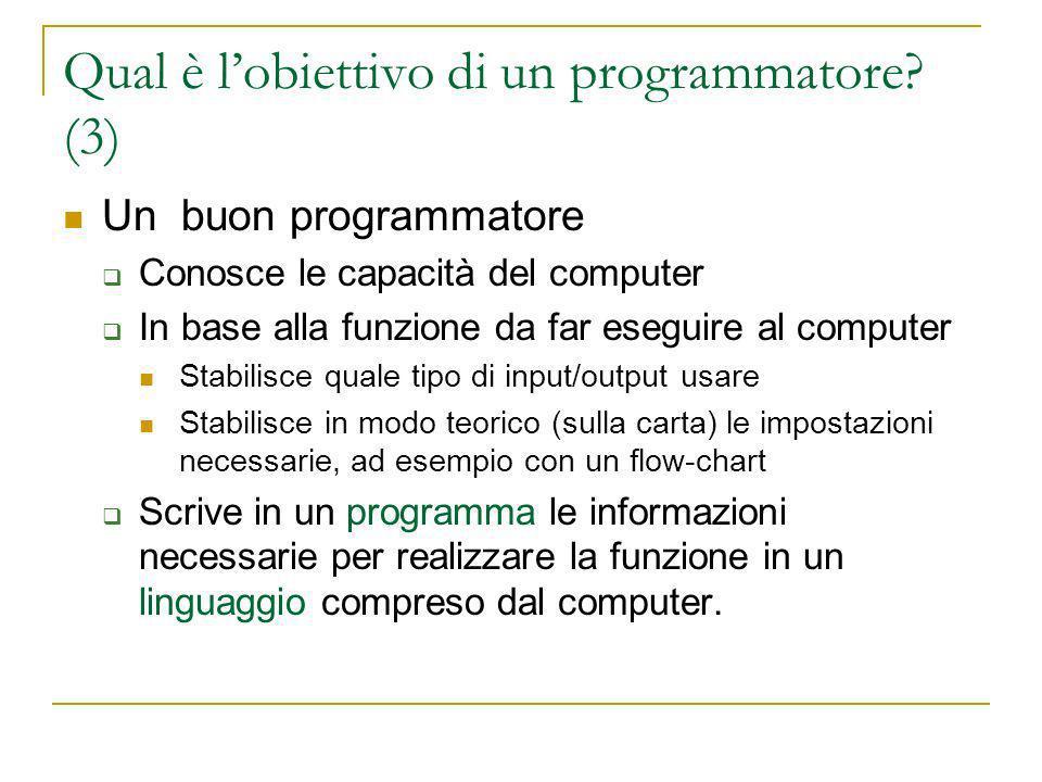 Qual è lobiettivo di un programmatore.