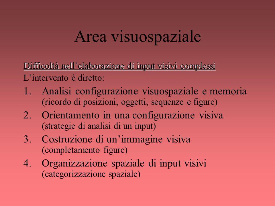 Area visuospaziale Difficoltà nellelaborazione di input visivi complessi Lintervento è diretto: 1.Analisi configurazione visuospaziale e memoria (rico
