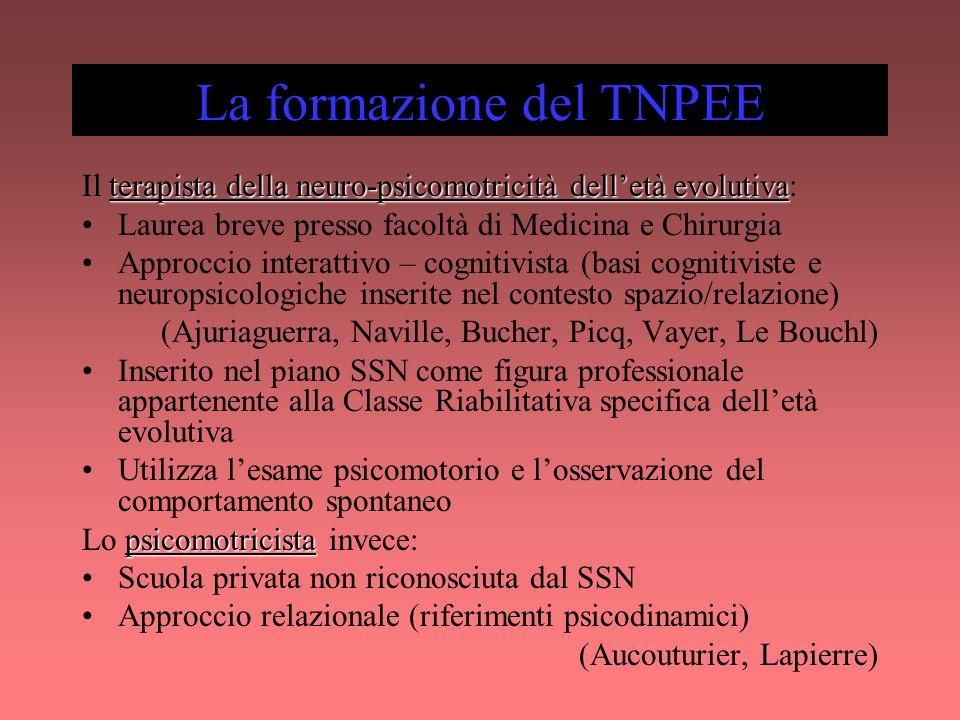 La formazione del TNPEE terapista della neuro-psicomotricità delletà evolutiva Il terapista della neuro-psicomotricità delletà evolutiva: Laurea breve