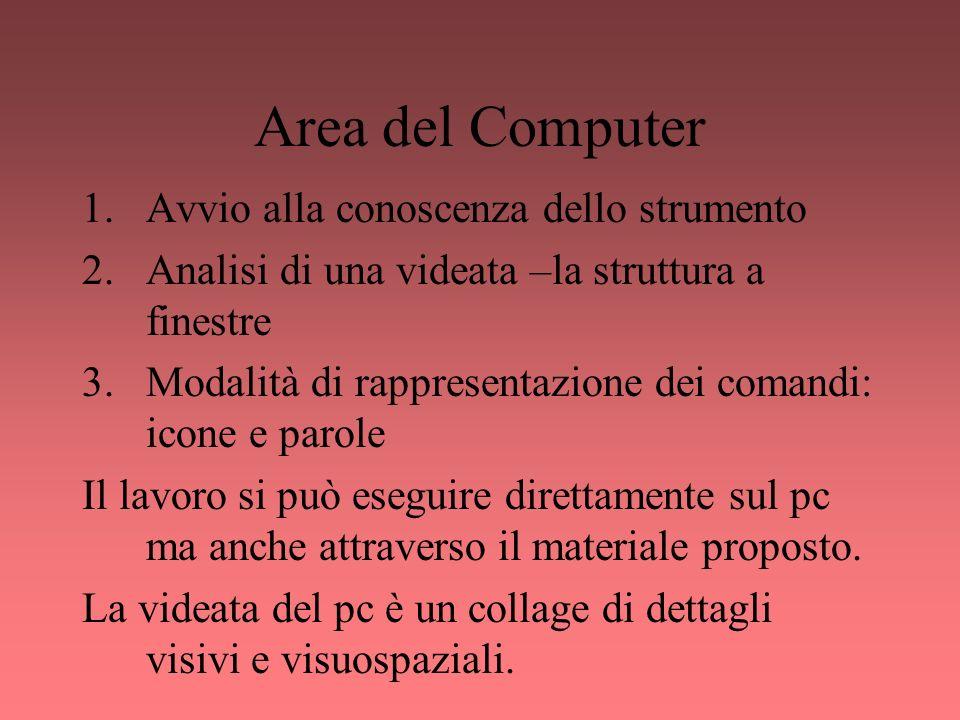 Area del Computer 1.Avvio alla conoscenza dello strumento 2.Analisi di una videata –la struttura a finestre 3.Modalità di rappresentazione dei comandi