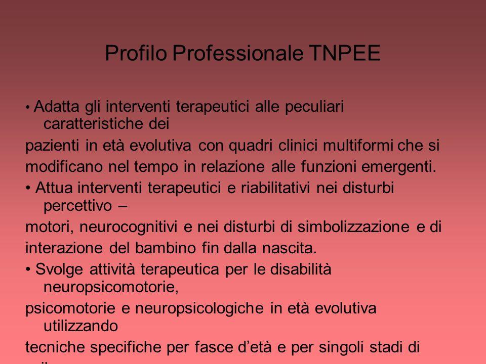 Profilo Professionale TNPEE Adatta gli interventi terapeutici alle peculiari caratteristiche dei pazienti in età evolutiva con quadri clinici multifor