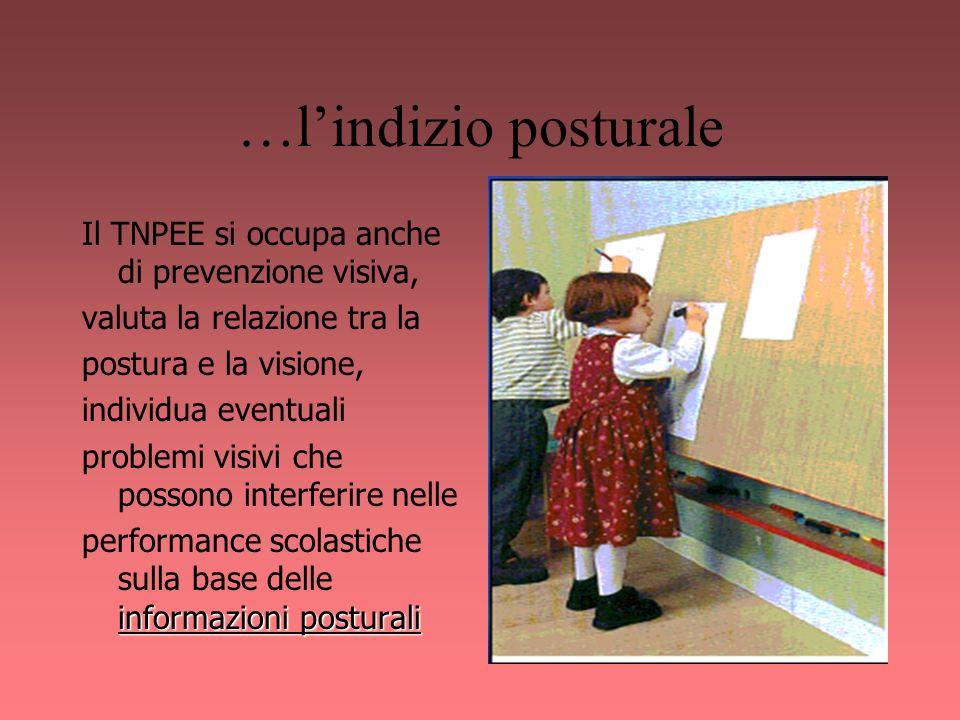 …lindizio posturale Il TNPEE si occupa anche di prevenzione visiva, valuta la relazione tra la postura e la visione, individua eventuali problemi visi