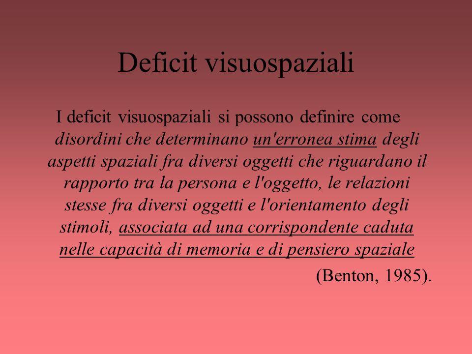 Deficit visuospaziali I deficit visuospaziali si possono definire come disordini che determinano un'erronea stima degli aspetti spaziali fra diversi o