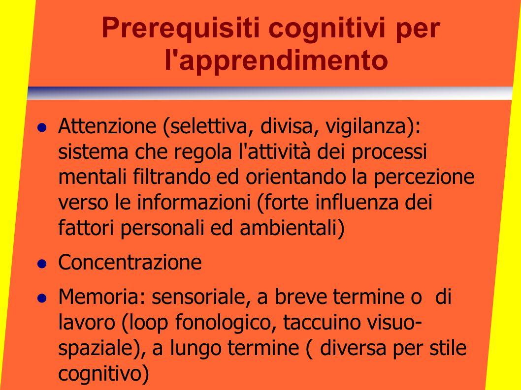 Prerequisiti cognitivi per l'apprendimento Attenzione (selettiva, divisa, vigilanza): sistema che regola l'attività dei processi mentali filtrando ed