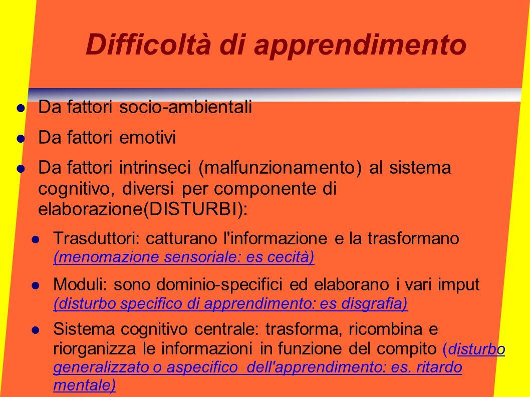Difficoltà di apprendimento Da fattori socio-ambientali Da fattori emotivi Da fattori intrinseci (malfunzionamento) al sistema cognitivo, diversi per