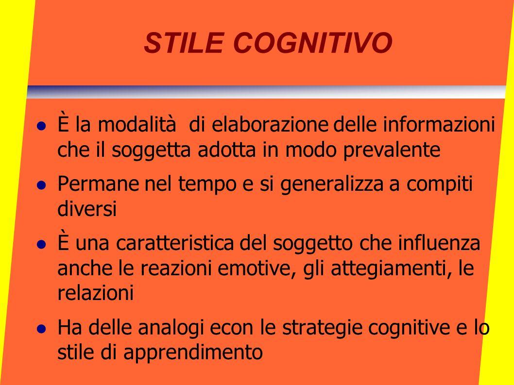 STILE COGNITIVO È la modalità di elaborazione delle informazioni che il soggetta adotta in modo prevalente Permane nel tempo e si generalizza a compit