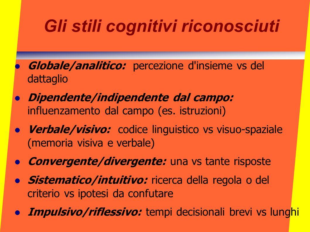Gli stili cognitivi riconosciuti Globale/analitico: percezione d'insieme vs del dattaglio Dipendente/indipendente dal campo: influenzamento dal campo